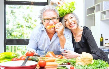 vegetarian elderly happy couple