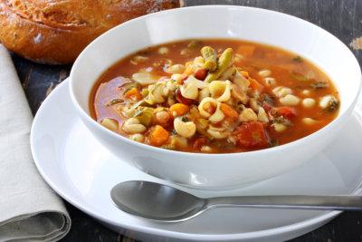 Detail of bowl with potato soup