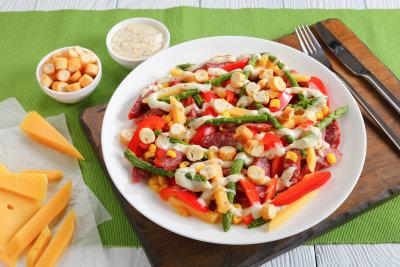 vegetables salad served on white plate